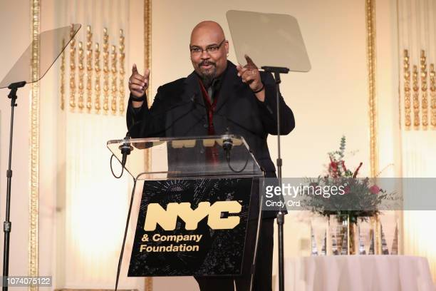 James Monroe Iglehart hosts the NYC & Company Foundation Visionaries & Voices Gala 2018 at The Plaza on November 28, 2018 in New York City.