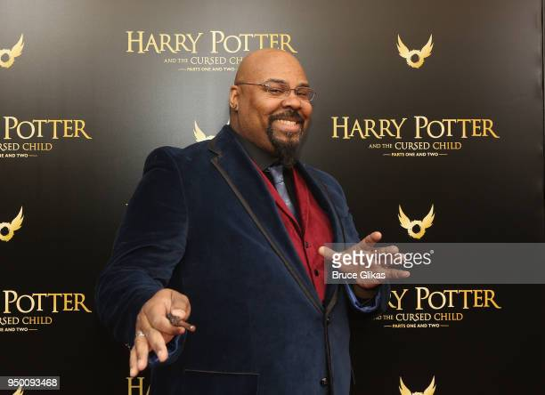 """James Monroe Iglehart poses at """"Harry Potter and The Cursed Child parts 1 & 2"""" on Broadway Opening Night at The Lyric Theatre on April 22, 2018 in..."""