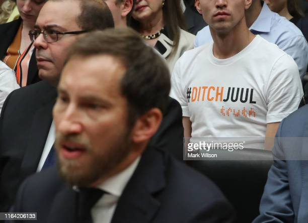James Monsees cofounder and chief product officer at JUUL Labs Inc testifies before the House Economic and Consumer Policy Subcommittee which is...