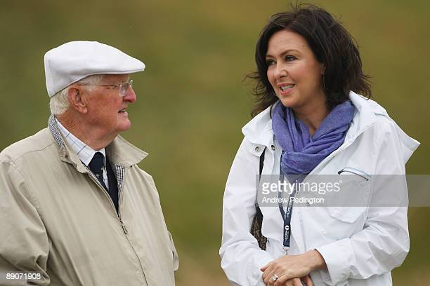James Montgomerie and Gaynor Montgomerie chat during round two of the 138th Open Championship on the Ailsa Course, Turnberry Golf Club on July 17,...