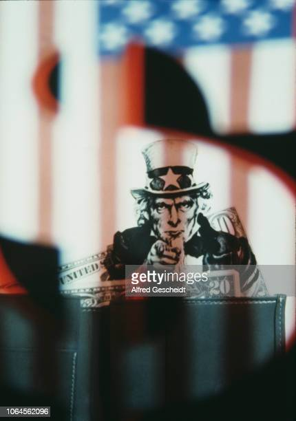 James Montgomery Flagg's Uncle Sam recruitment poster superimposed on a wallet and dollars banknotes US 1982