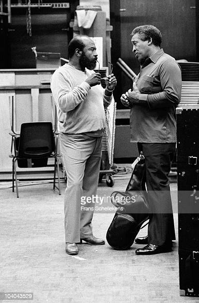 James Moody and Von Freeman talk backstage at Meervaart on August 111983 in Amsterdam, Netherlands.
