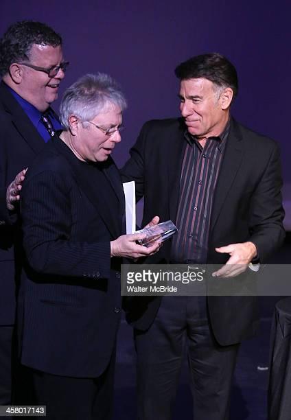 James Morgan Alan Menken and Stephen Schwartz attend the 22nd annual Oscar Hammerstein Award gala at The Hudson Theatre on December 9 2013 in New...