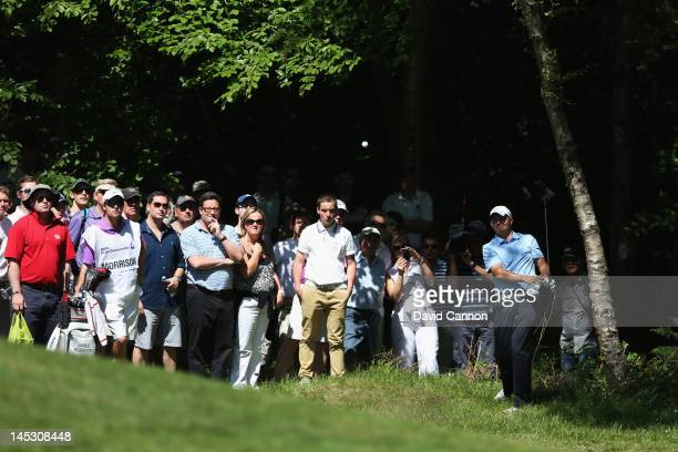 James Morrison of England hits his fifth shot on the fourth hole during the third round of the BMW PGA Championship on the West Course at Wentworth...