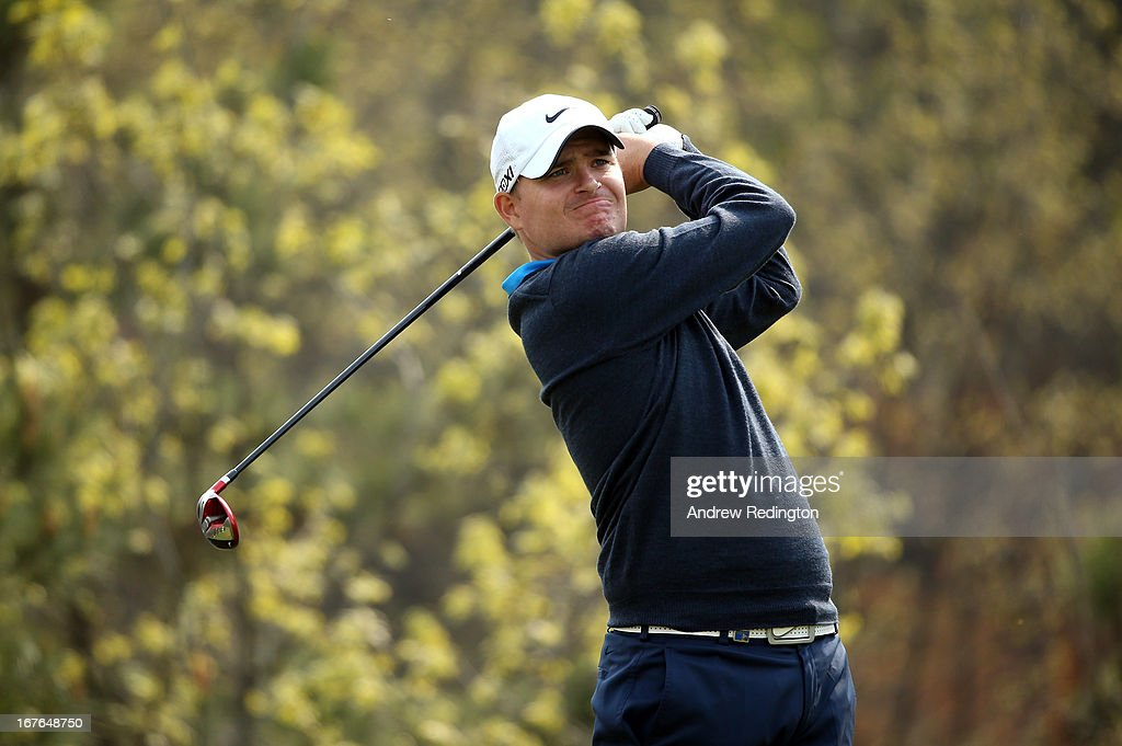 James Morrison of England hits his tee-shot on the sixth hole during the third round of the Ballantine's Championship at Blackstone Golf Club on April 27, 2013 in Icheon, South Korea.