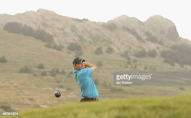 James Morrison of England in action during the final round of the Madeira Islands Open at the Porto Santo golf club on April 11 2010 in Porto Santo...