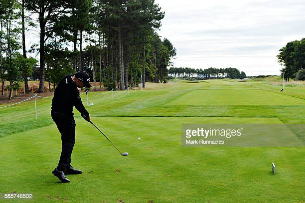 James Morrison of England plays his tee shot on hole 3 on day one of the Aberdeen Asset Management Paul Lawrie Matchplay at Archerfield Links Golf...