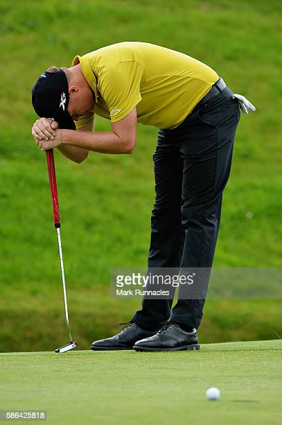 James Morrison of England reacts after leaving a putt short on the green on hole 15 on day three of the Aberdeen Asset Management Paul Lawrie...