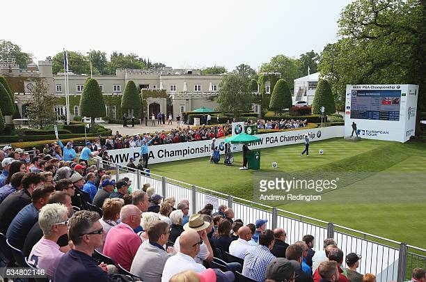 James Morrison of England tees off on the 1st hole during day three of the BMW PGA Championship at Wentworth on May 28 2016 in Virginia Water England