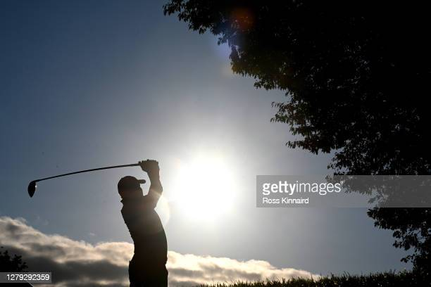 James Morrison of England tees off on the 3rd hole during Day 2 of the BMW PGA Championship at Wentworth Golf Club on October 09, 2020 in Virginia...