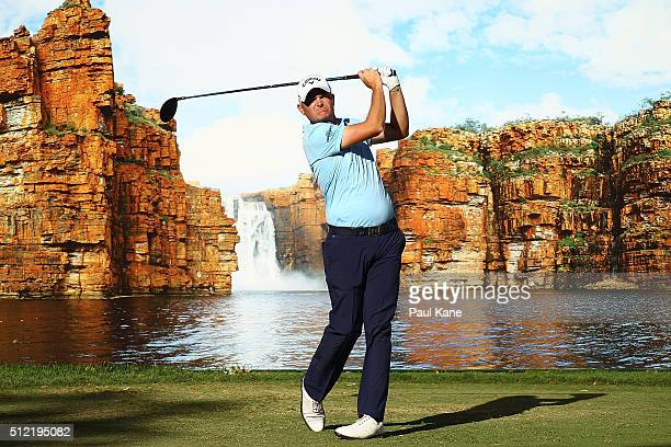 James Morrison of England watches his tee shot on the 14th hole during day one of the 2016 Perth International at Lake Karrinyup GC on February 25...