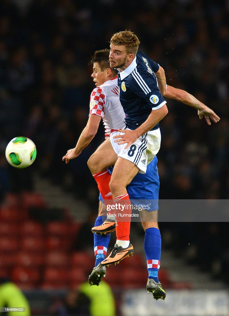 James Morrison of Scotland battles with Ognejen Vukojevic of Croatia during the FIFA 2014 World Cup Qualifying Group A match between Scotland and Croatia at Hampden Park on October 15, 2013.