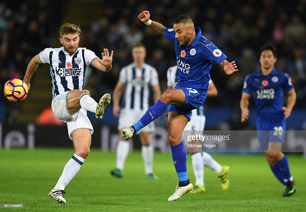 James Morrison of West Bromwich Albion and Danny Simpson of Leicester City in action during the Premier League match between Leicester City and West Bromwich Albion at The King Power Stadium on November 6, 2016 in Leicester, England.