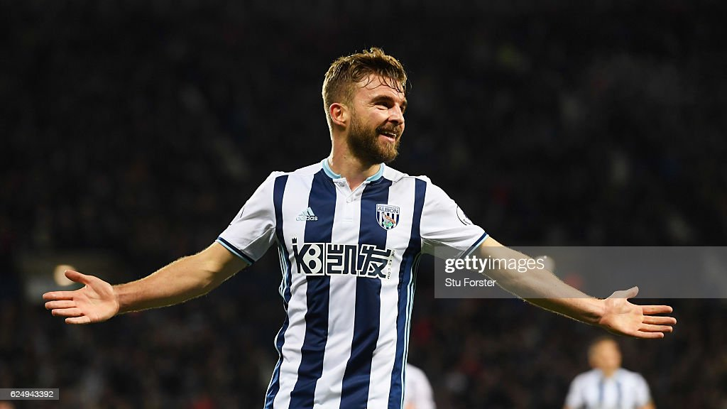 James Morrison of West Bromwich Albion (7) celebrates as he scores their second goal during the Premier League match between West Bromwich Albion and Burnley at The Hawthorns on November 21, 2016 in West Bromwich, England.