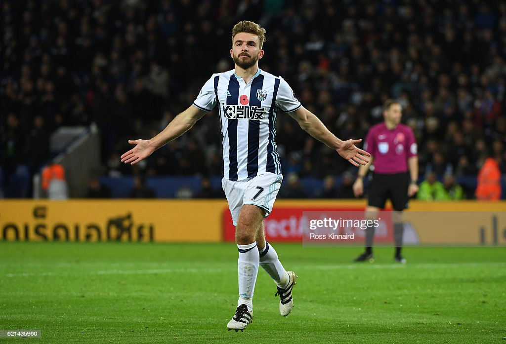 James Morrison of West Bromwich Albion celebrates scoring his sides first goal during the Premier League match between Leicester City and West Bromwich Albion at The King Power Stadium on November 6, 2016 in Leicester, England.