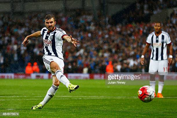 James Morrison of West Bromwich Albion fails to score from the penalty spot during the Barclays Premier League match between West Bromwich Albion and...