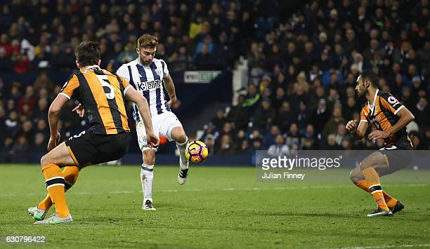 James Morrison of West Bromwich Albion scores his sides third goal during the Premier League match between West Bromwich Albion and Hull City at The...