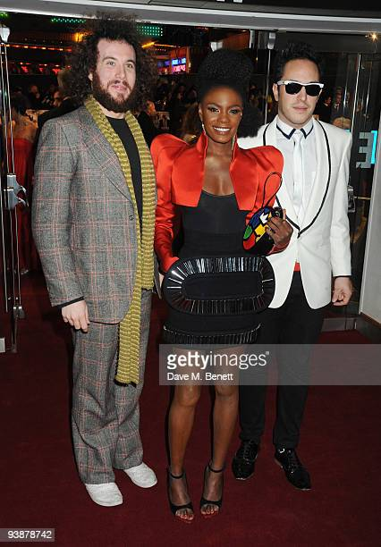LR James Morrison Shingai Shoniwa and Dan Smith of The Noisettes attends the 'Nine' world film premiere at the Odeon Leicester Square on December 3...