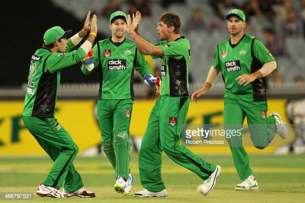 James Muirhead of the Stars celebrates after dismissing Shoaib Malik of the Hurricanes during the Big Bash League Semi Final match between the...