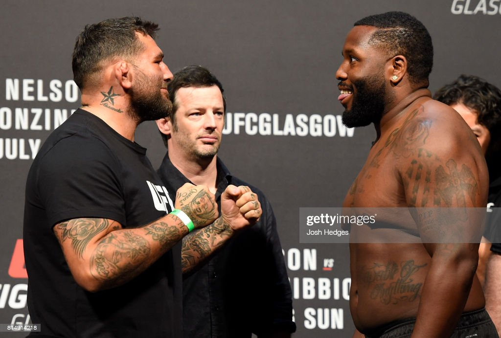 James Mulheron of England and Justin Willis face off during the UFC Fight Night weigh-in at the SSE Hydro Arena Glasgow on July 15, 2017 in Glasgow, Scotland.