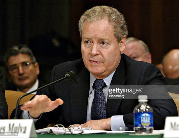 James Mulva chairman president and chief executive officer of ConocoPhillips testifies during a hearing before the Senate Judiciary Committee in...