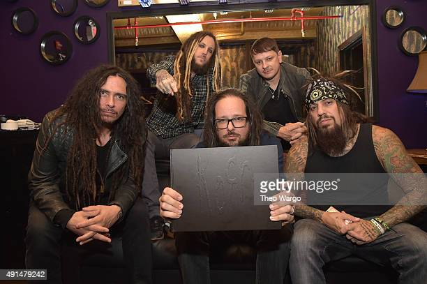 James 'Munky' Schaffer Brian 'Head' Welch Jonathan Davis Ray Luzier and Reginald Quincy 'Fieldy' Arvizu backstage at The Korn 20th Anniversary Tour...