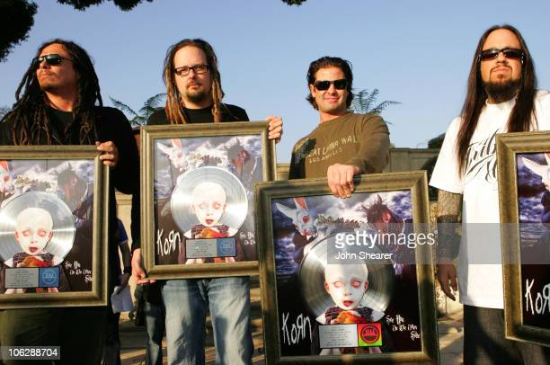 James 'Munky' Shaffer Jonathan Davis David Silveria and Fieldy of Korn