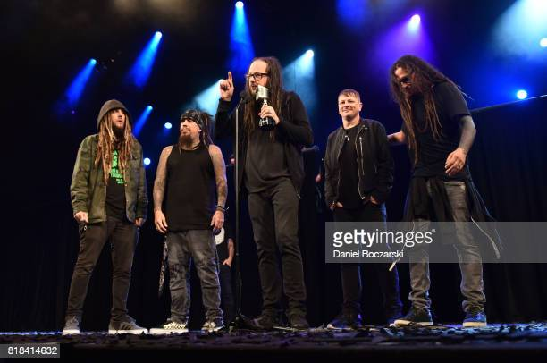 James Munky Shaffer Reginald Field Arvizu Jonathan Davis Ray Luzier and Brian Head Welch of Korn attend the 2017 Alternative Press Music Awards at...