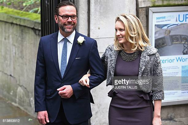 James Murdoch and his wife Kathryn Hufschmid arrive at St Bride's church on Fleet Street in central London on March 5 to attend a ceremony of...