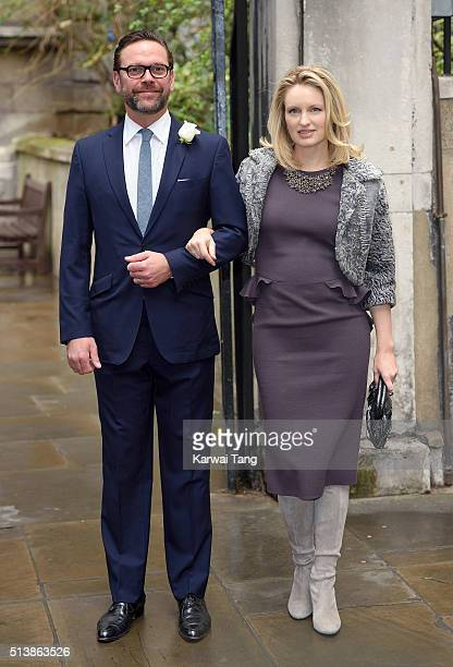 James Murdoch and his wife Kathryn Hufschmid arrive for the wedding of Jerry Hall to Rupert Murdoch at St Brides Church on March 5 2016 in London...