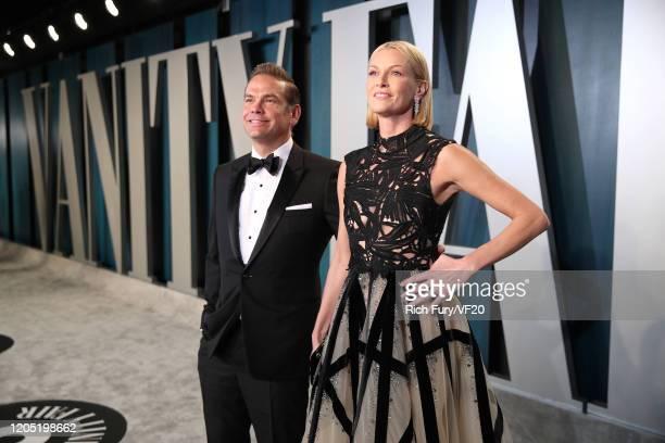 James Murdoch and Kathryn Hufschmid Murdoch attend the 2020 Vanity Fair Oscar Party hosted by Radhika Jones at Wallis Annenberg Center for the...