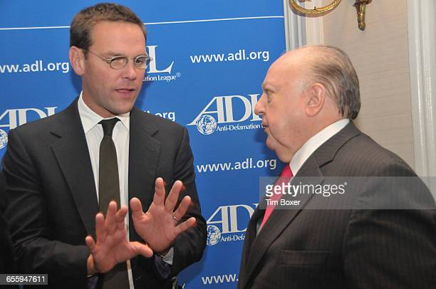 James Murdoch and Roger Ailes attend an AntiDefamation dinner that honored Rupert Murdoch on October 13 at the Waldorf Astoria Hotel in New York NY