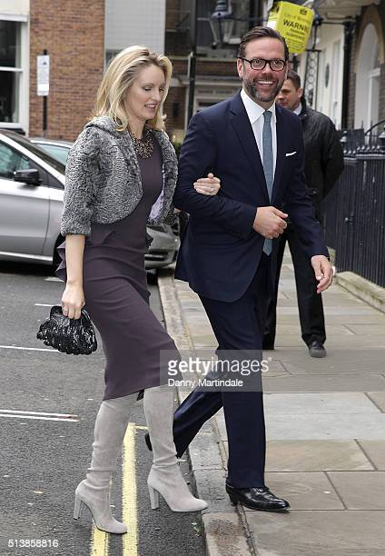 James Murdoch and wife Kathryn Hufschmid arrive at Spencer House for their wedding reception on March 5 2016 in London England