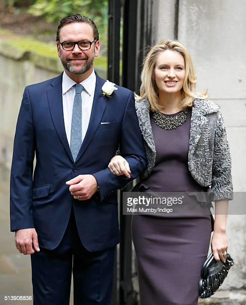 James Murdoch and wife Kathryn Murdoch arrive at St Bride's Church for a service to celebrate his father Rupert Murdoch's marriage to Jerry Hall on...