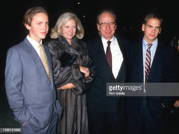 James Murdoch, Anna Murdoch, Rupert Murdoch and Lachlan Murdoch attend 32nd Annual Art and Antique Show at Sotheby's in New York City on December 3,...