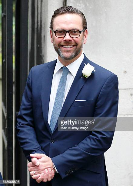 James Murdoch arrives at St Bride's Church for a service to celebrate his father Rupert Murdoch's marriage to Jerry Hall on March 5, 2016 in London,...