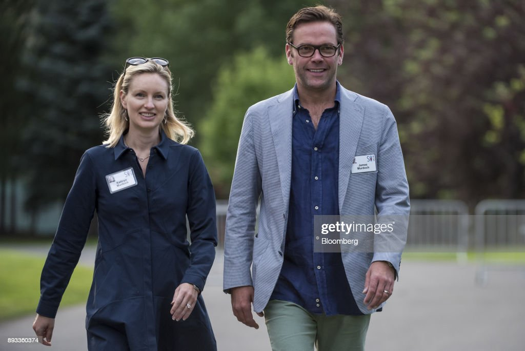 James Murdoch, chief executive officer of Twenty-First Century Fox Inc., right, arrives for a morning session during the Allen & Co. Media and Technology Conference in Sun Valley, Idaho, U.S., on Friday, July 10, 2015. For decades, investors, analysts, busybodies, columnists and gossips have loved to chew over the ultimate media-dynasty question: When Rupert Murdoch was at long last forced to step down -- whether for age, coup or scandal -- which of his children would assume the throne of his vast empire? James or Lachlan or Elisabeth? Now we know the answer. Our editors select the best archive images of the Murdoch family. Photographer: David Paul Morris/Bloomberg via Getty Images