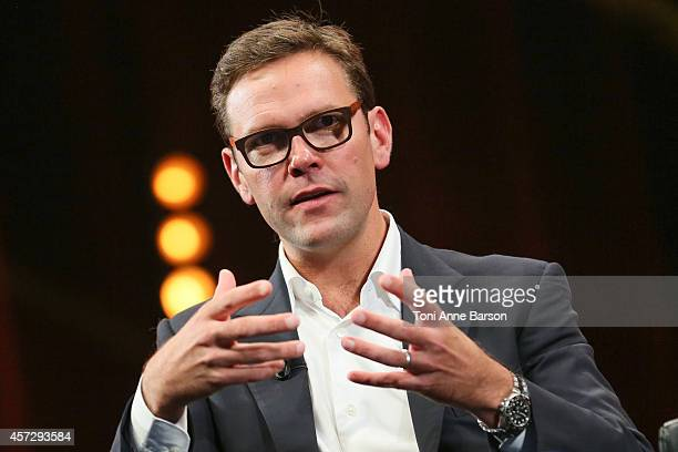 James Murdoch Co-COO 21st Century Fox attends a Keynote during MIPCOM at the Palais des Festivals on October 13, 2014 in Cannes, France.