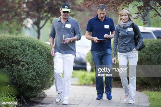 James Murdoch deputy chief operating officer of News Corp left Bob Iger chairman and chief executive officer of Walt Disney Co center and Willow Bay...