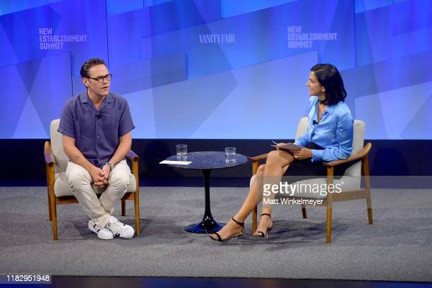 James Murdoch founder and CEO of Lupa Systems and editor in chief at Vanity Fair Radhika Jones speak onstage during 'In Conversation' at Vanity...