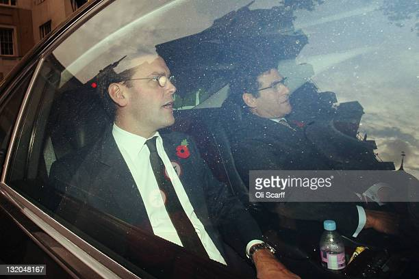 James Murdoch leaves Portcullis House after giving evidence to the Culture, Media and Sport Select Committee on November 10, 2011 in London, England....