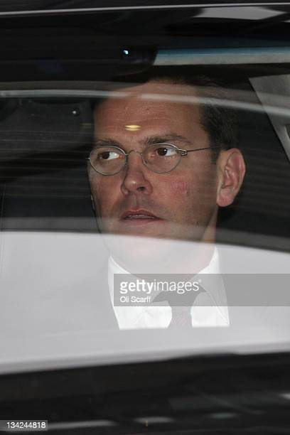 James Murdoch leaves the annual general meeting of BSkyB after resisting calls for him to stand down as chairman on November 29, 2011 in London,...