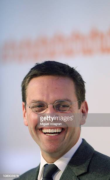 James Murdoch son of Rupert Murdoch and Chairman and Chief Executive of News Corporation Europe and Asia addresses the media during the Digital Life...