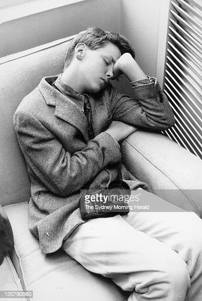 James Murdoch, the young son of News Limited boss, Rupert Murdoch, catches up on some sleep while on work experience. He is waiting for the start of...