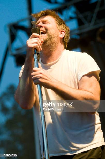 James Murphy of LCD Soundsystem performs during day two of Pitchfork Music Festival at Union Park on July 17 2010 in Chicago Illinois