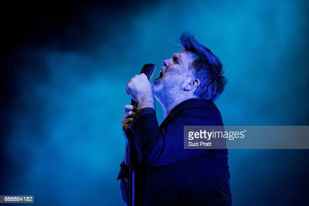 James Murphy of LCD Soundsystem performs on stage at the Sasquatch Music Festival at Gorge Amphitheatre on May 26 2017 in George Washington