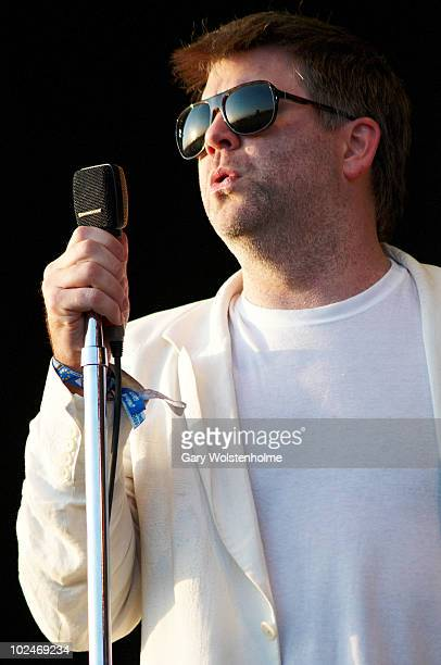 James Murphy of LCD Soundsystem performs on stage on the fourth day of Glastonbury Festival at Worthy Farm on June 27, 2010 in Glastonbury, England.