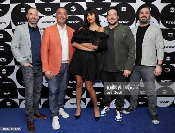 James Murr Murray Joe Gatto Jameela Jamil Sal Vulcano and Brian Q Quinn of 'The Misery Index' pose in the green room during the TCA Turner Winter...