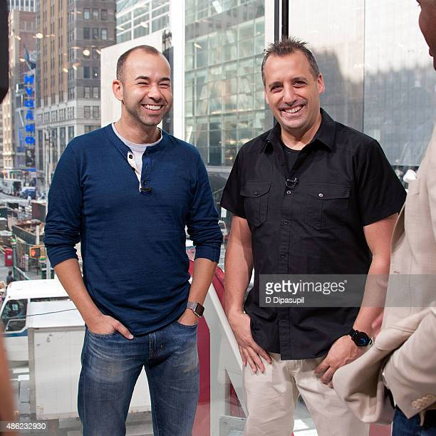 James Murray and Joseph Gatto of Impractical Jokers visit Extra at their New York studios at HM in Times Square on September 2 2015 in New York City