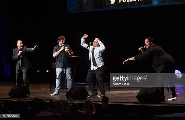 James Murray Brian Quinn Joseph Gatto and Salvatore Vulcano of The Tenderloins perform during the truTV Impractical Jokers 'Where's Larry' Tour at...